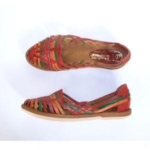 VTG 70s Colorful Huarache Leather Sandals 8.5 - 9